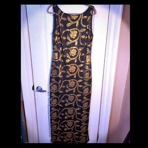 black and gold Ralph Lauren evening dress